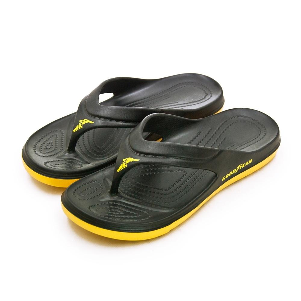 GOODYEAR 固特異 防水輕量彈力休閒運動夾腳拖鞋 乘風踏浪系列 黑黃 93760