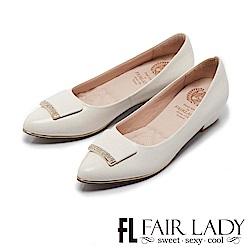 Fair Lady Cube Chic塊時尚 都會儷人拼鑽尖頭低跟鞋 典雅白