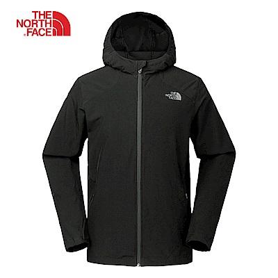 The North Face北面男款黑色防潑水連帽風衣外套|3GE1JK3