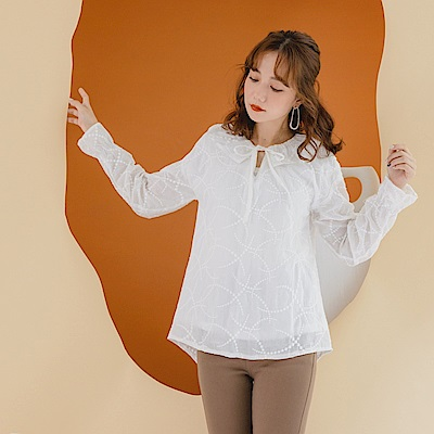 高含棉細緻立體織紋純色綁帶荷葉喇叭袖上衣-OB大尺碼