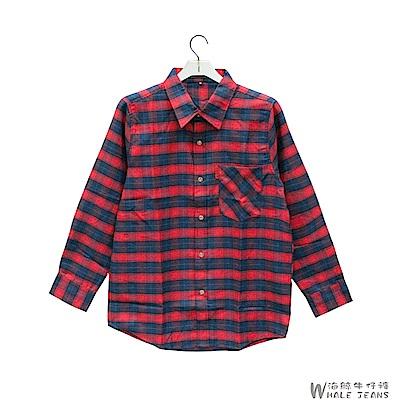 WHALE JEANS 男款秋冬個性風範經典格紋長袖襯衫