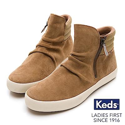 Keds 機能防潑水麂皮拉鍊短靴-土黃