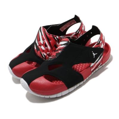 Nike 涼拖鞋 Jordan Flare 套腳 童鞋 喬丹 輕便 快速排水 魔鬼氈 小童 紅 黑 CI7850016