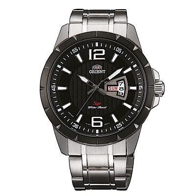 ORIENT東方錶 簡練強悍運動石英腕錶鋼帶(FUG1X001B9)-黑x42.5mm