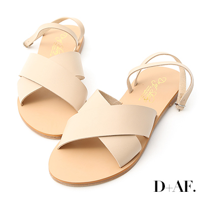 D+AF 自在完美.交叉寬帶繞踝平底涼鞋*米杏