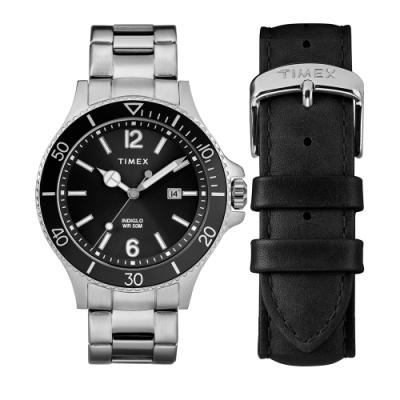TIMEX 天美時 風格系列 經典手錶禮盒組- 黑x銀/34mm