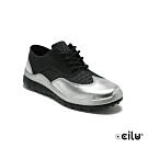 CCILU 金屬皮革拼接網布運動休閒鞋-女款-302306006黑色