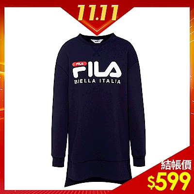 FILA 女款長袖長版T恤-丈青  5 TES- 5429 -NV