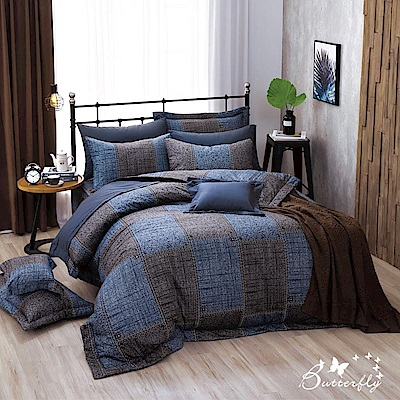 BUTTERFLY-台製40支紗純棉加高30cm薄式雙人床包+雙人鋪棉兩用被-西部牛仔