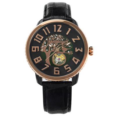 Tendence 天勢表 機械錶自動上鍊珍珠母貝防水真皮手錶-黑x玫瑰金框/48mm