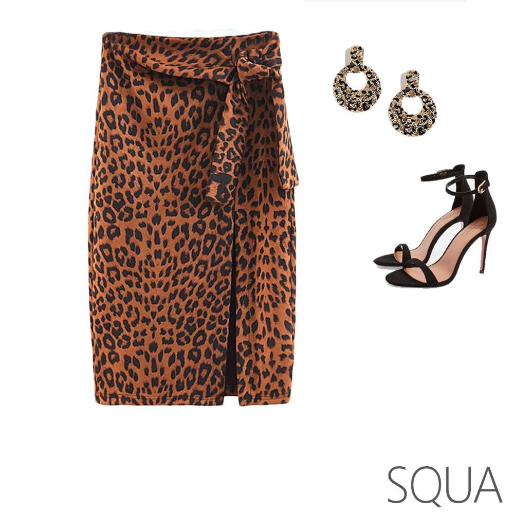 SQUA 豹紋綁帶開叉包臀裙