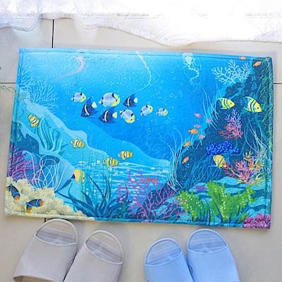 熱帶海洋 吸水防滑法蘭絨地墊(40x60cm)