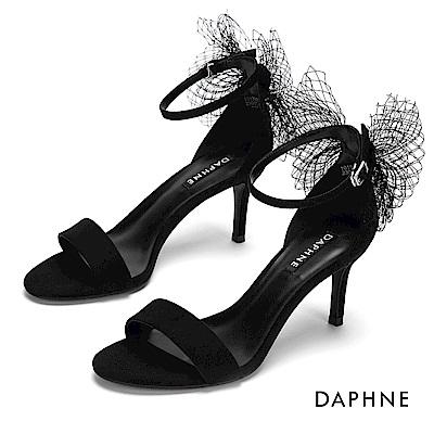 達芙妮DAPHNE 涼鞋-質感絨面網紗蝴蝶結高跟涼鞋-黑色