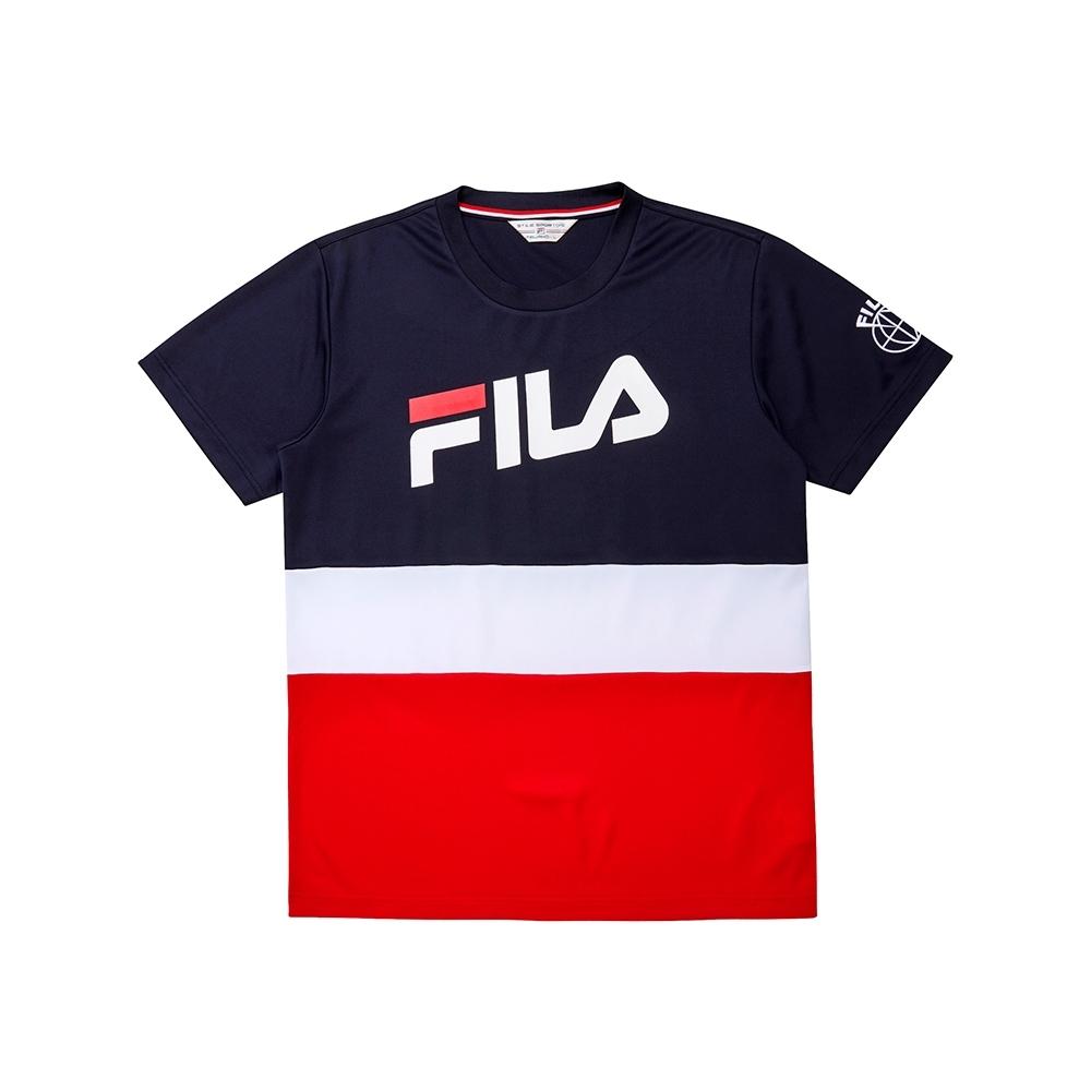 FILA 男短袖圓領T恤-丈青 1TEU-1445-NV