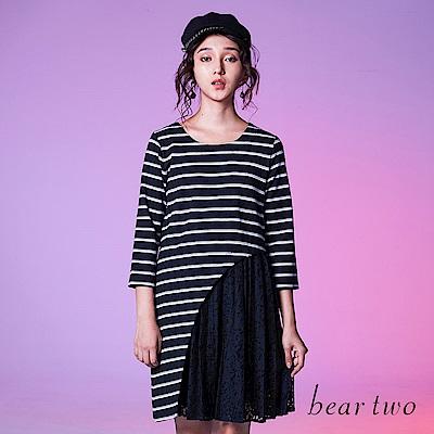 beartwo 條紋弧線剪接蕾絲裙擺七分袖洋裝(二色)