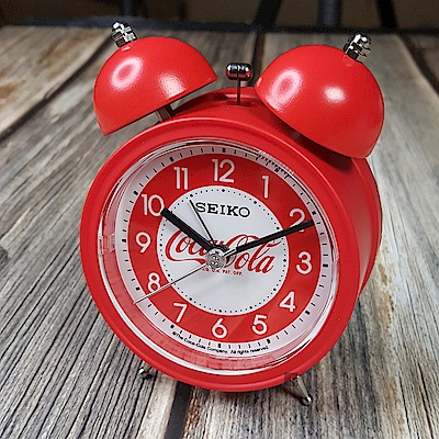 SEIKO精工 Coca-Cola 可口可樂 響鈴聲貪睡鬧鐘(QHK905R)-紅