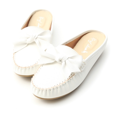 D+AF 甜美日常.MIT蝴蝶結豆豆穆勒鞋*白