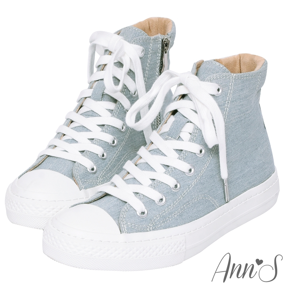 Ann'S黑科技-弄不髒防潑水高筒拉鍊帆布鞋-淺藍
