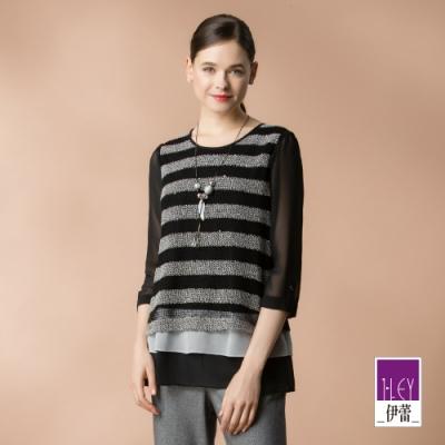 ILEY伊蕾 織格條紋造型雪紡上衣(黑)