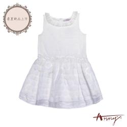 Annys安妮公主-在跳舞的圓點點-天絲棉圓圈蕾絲網紗背心洋裝*8118白