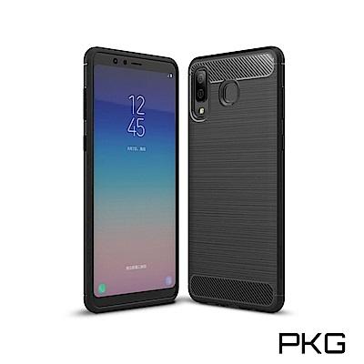 PKG 三星 A8 Star 抗震防摔手機殼-碳纖維紋系列