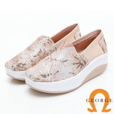 GEORGE 喬治皮鞋 花型亮片厚底休閒鞋-金色
