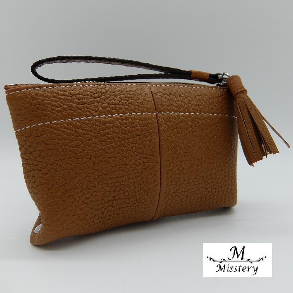 【Misstery】零錢包進口牛皮鉚釘造型小巧零錢包-棕(進口牛皮款式)