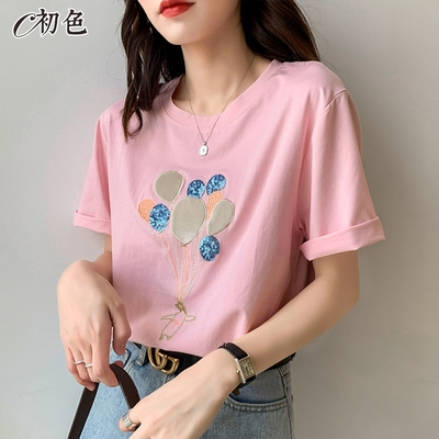 初色  氣球刺繡亮片T恤-共4色-(M-XL可選)