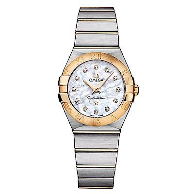 OMEGA 歐米茄星座系列18K金珍珠母貝面鑲鑽腕錶