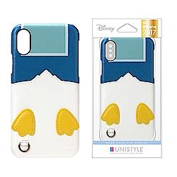 iPhone Xs/X 手機殼 迪士尼 正版授權 皮革/插卡/口袋 硬殼 5.8吋-唐老鴨