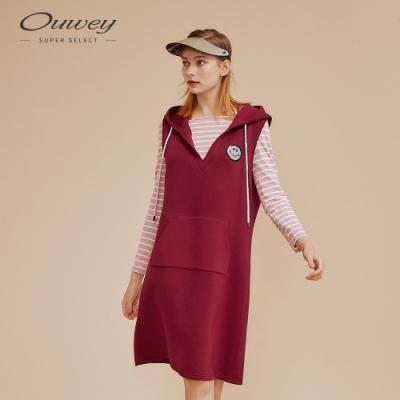 OUWEY歐薇 真兩件亮片笑臉貼布繡連帽洋裝(紅)