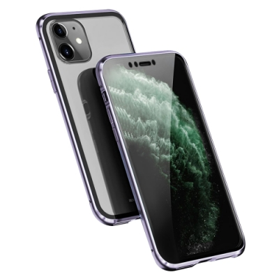 iPhone 11 金屬 透明 全包覆 磁吸雙面玻璃殼 手機殼 紫色 (iPhone11手機殼 iPhone11保護殼 )