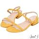 Ann'S輕盈氣質-弧線細帶純色絨質一字方頭涼低跟鞋-黃 product thumbnail 1