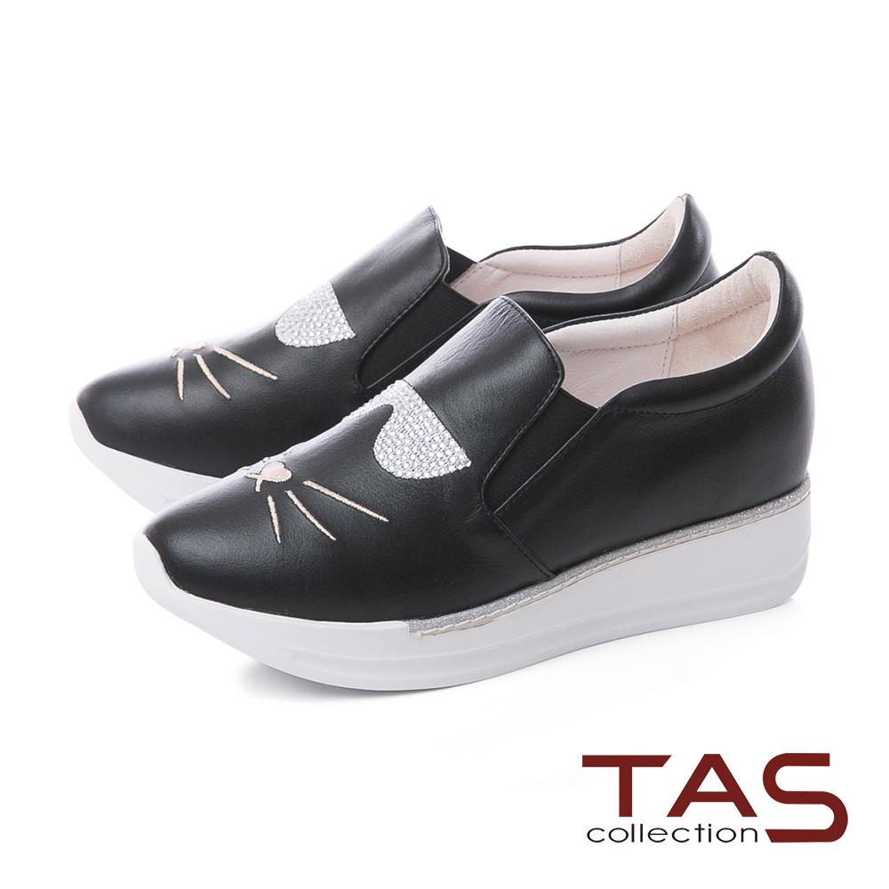 TAS水鑽貓咪造型真皮內增高休閒鞋-街頭黑