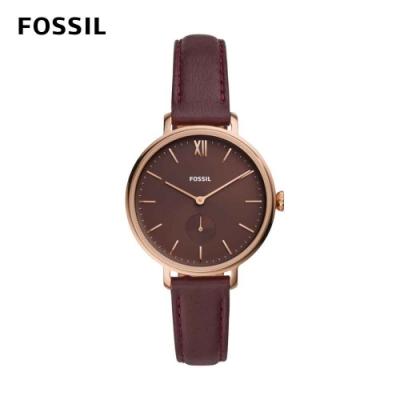 FOSSIL Kalya 凱拉氣質女孩真皮女錶 無花果紫紅皮革錶帶 36MM ES4665