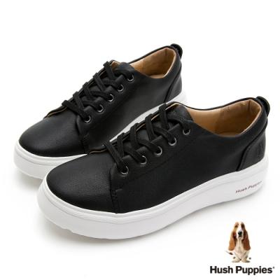 Hush Puppies 簡約綁帶皮革休閒女鞋-黑色