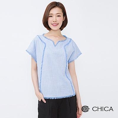 CHICA 率性女伶抽鬚滾邊設計上衣(2色)