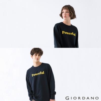 GIORDANO 中性款簡約文字大學T恤 - 05 深藍