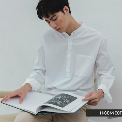 H:CONNECT 韓國品牌 男裝 -純色中山領排扣襯衫-白
