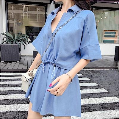 DABI 韓國風純色上衣寬口褲時尚兩件套裝短袖褲裝