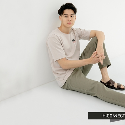 H:CONNECT 韓國品牌 男裝-簡約素面微彈休閒長褲-軍綠