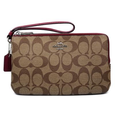 COACH 馬車LOGO直條皮革系列大款雙層拉鍊手拿包 棕x殷紅