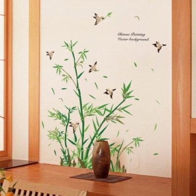 半島良品 DIY北歐風無痕壁貼 SK9190-竹子與鳥客 60X90