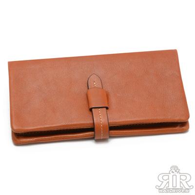 2R 頭層植鞣牛皮 Craftsman 揉捏皮釦長夾 經典棕