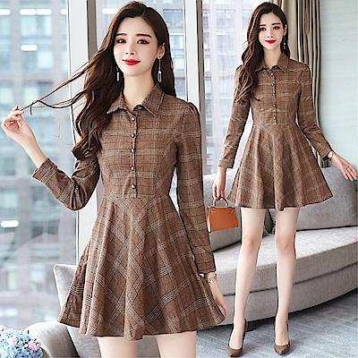 DABI 韓國復古襯衫紐扣顯瘦格子長袖洋裝