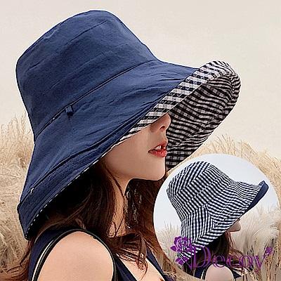 Decoy 日式格紋 雙面加大防曬遮陽漁夫帽 藍