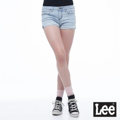 Lee 牛仔短褲合身短褲褲腳反折女淺藍