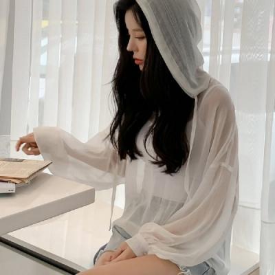 蕾絲上衣 優雅透明連帽長袖蕾絲衫OM81341-創翊韓都