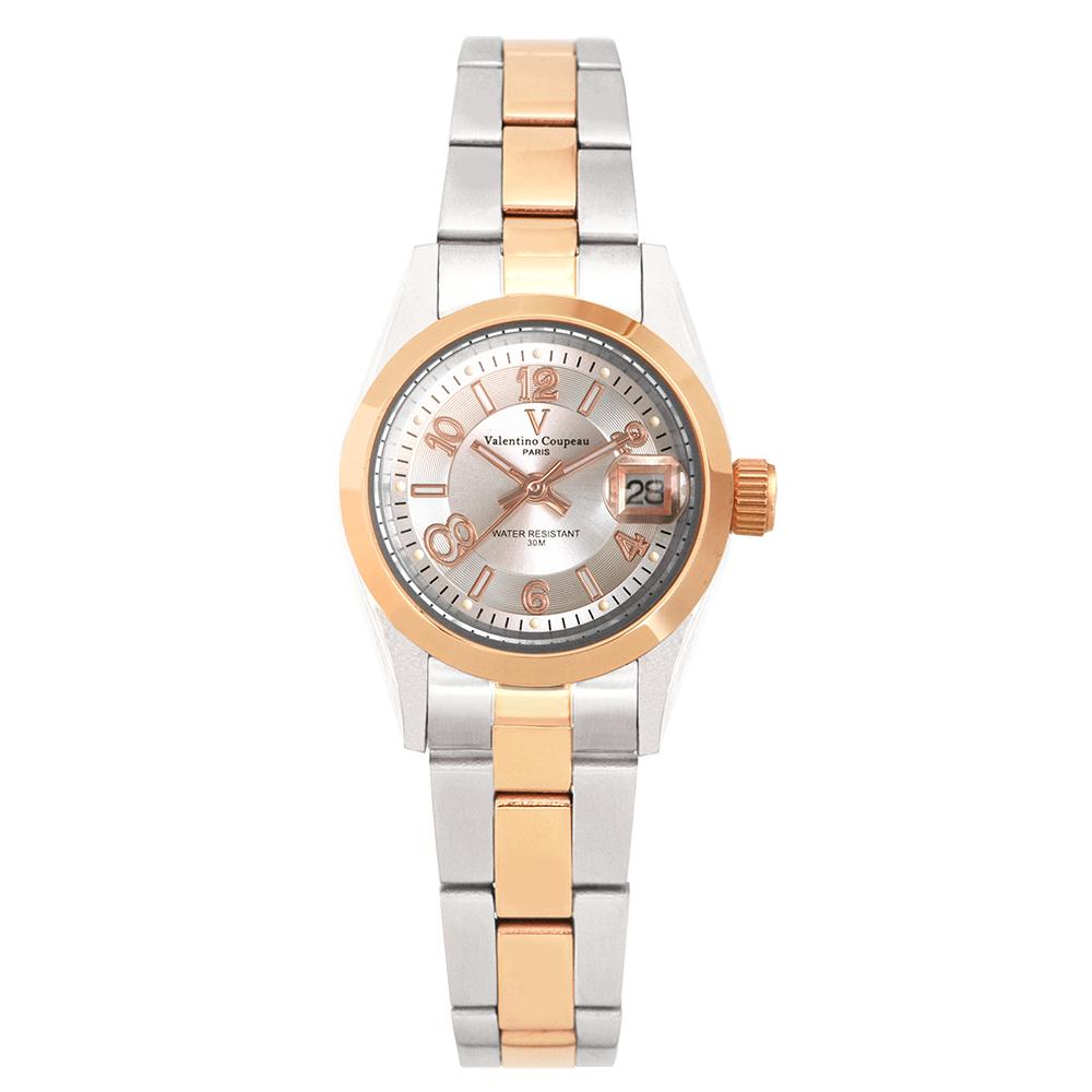 Valentino Coupeau 范倫鐵諾 古柏 都會數字腕錶 (半玫/銀面/女錶) @ Y!購物