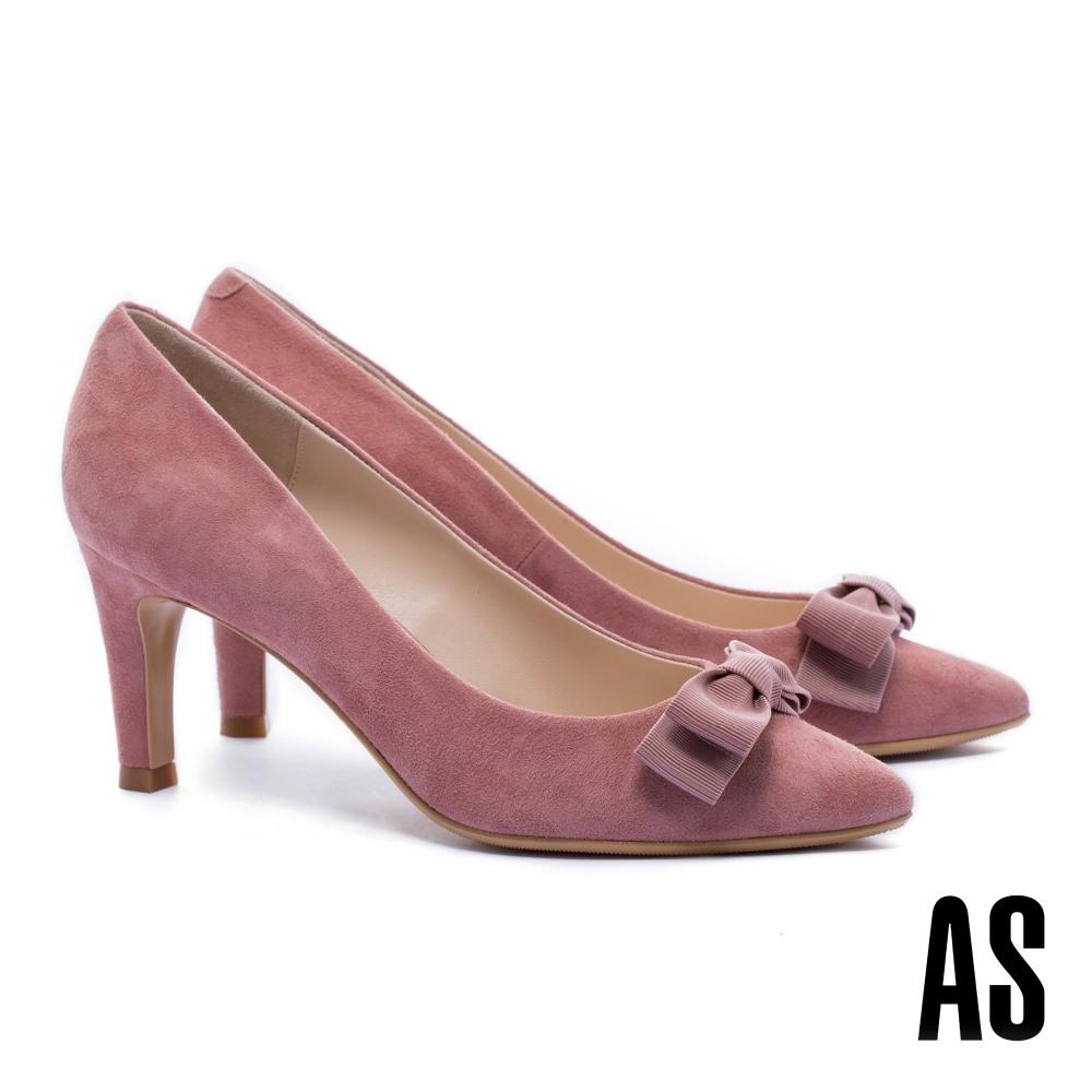 高跟鞋 AS 素雅氣質蝴蝶結織帶羊麂皮尖頭高跟鞋-粉